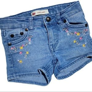 Levi's Girl's 2T Shorty Shorts Flower Embroidery
